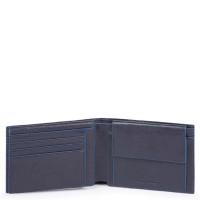 Piquadro Blue Square S Matte Men's Wallet With Flip Up/Coin Pocket Blue