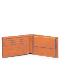 Piquadro Blue Square S Matte Men's Wallet With Flip Up/Coin Pocket Tobacco