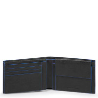 Piquadro Blue Square S Matte Men's Wallet With Flip Up/Coin Pocket Black