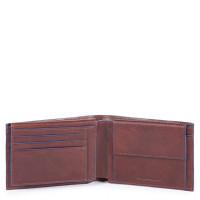 Piquadro Blue Square S Matte Men's Wallet With Flip Up/Coin Pocket Dark Brown