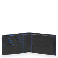 Piquadro Blue Square S Matte Men's Wallet With Coin Pocket RFID Black