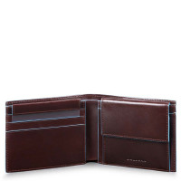 Piquadro Blue Square Men's Wallet With Coin Case Mahogany