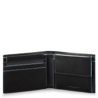 Piquadro Blue Square Men's Wallet With Coin Case Black