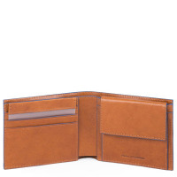 Piquadro Blue Square S Matte Men's Wallet Two Cards With Coin Pocket Tobacco