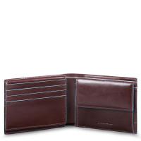 Piquadro Blue Square Men's Wallet With Flip Up/Coin Pocket Mahogany