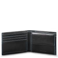 Piquadro Blue Square Men's Wallet With Flip Up/Coin Pocket Black