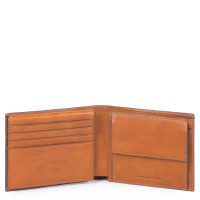 Piquadro Blue Square S Matte Men's Wallet With Flip Up ID Tobacco
