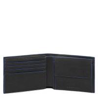 Piquadro Blue Square S Matte Men's Wallet With Flip Up ID Black