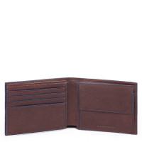 Piquadro Blue Square S Matte Men's Wallet With Flip Up ID Dark Brown