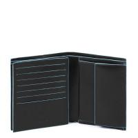 Piquadro Blue Square Vertical Flip Men's Wallet With Coin Case Black