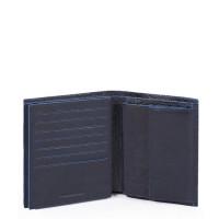 Piquadro Blue Square S Matte Vertical Flip Men's Wallet Night Blue