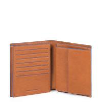 Piquadro Blue Square S Matte Vertical Flip Men's Wallet Tobacco