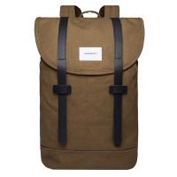 Sandqvist Stig Backpack Dark Olive/Black Leather