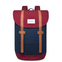Sandqvist Stig Backpack Multi Navy/Burgundy Cognac Brown Leather