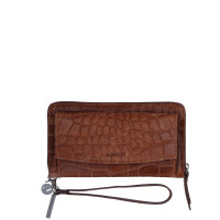 LouLou Essentiels Vintage Croco Silver Mobile Wallet Cognac