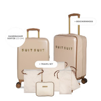 SuitSuit Fab Seventies Special - Handbagage Spinner 55 Warm Sand + Travel Set