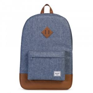 Herschel Heritage Rugzak Dark Chambray Crosshatch/ Tan Synthetic Leather