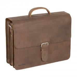 "Plevier Business/ Laptoptas Vintage 3-Vaks 17.3"" Brown 555"