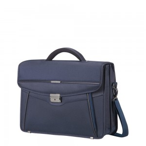 "Samsonite Desklite Briefcase 2 Vaks 15.6"" Blue"