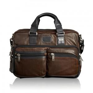 Tumi Alpha Bravo Anderson Slim Commuter Leather Brief Dark Brown
