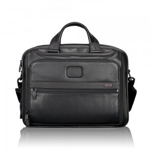 Tumi Alpha 2 Business Leather Organizer Brief Black