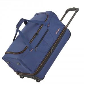 Travelite Basics Wheeled Duffle 55cm Expandable Navy/Orange
