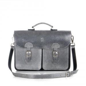 OldSchool Bags Schooltas Extra Large Metallic Zilver
