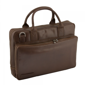 "Plevier Business/ Laptoptas Greased 2-Vaks 14"" Cognac 271"