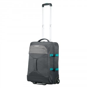 American Tourister Road Quest 2 Compartments Duffle Wheels 55 Grey/ Turquoise