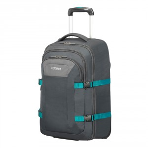 """American Tourister Road Quest Laptop Backpack Wheels 15.6"""" Grey/ Turquoise"""