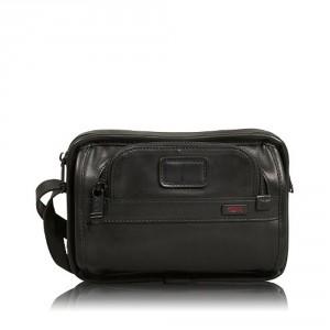 Tumi Alpha Leather Organizer Travel Clutch Black