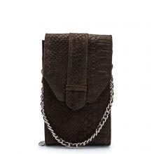 MOSZ Phonebag Schoudertas Suède Snake Dark Brown Silver