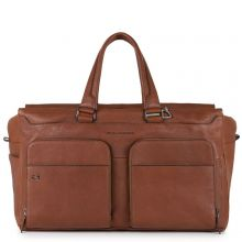 Piquadro Black Square Laptop And iPad Travel Bag USB With CONNEQU Tobacco Leather