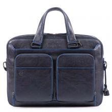 Piquadro Blue Square S Matte Portfolio Computer Briefcase with iPad Blue