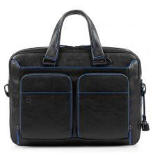 Piquadro Blue Square S Matte Portfolio Computer Briefcase with iPad Black