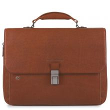 """Piquadro Black Square Laptop 15""""/ iPad 9.7"""" Expandable Briefcase CONNEQU Tobacco Leather"""