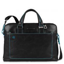 "Piquadro Blue Square Double Handle Computer Portfolio Briefcase 14"" Black"