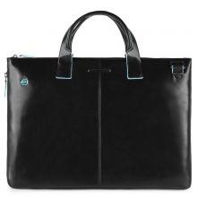 """Piquadro Blue Square Expandable Slim Computer Bag 15.6"""" Black"""