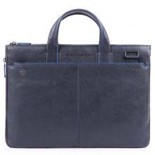 """Piquadro Blue Square Expandable Slim Computer Bag 15.6"""" Night Blue"""
