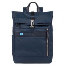 "Piquadro PQ-BIO Nylon Roll Top PC Backpack 15.6"" Blue"