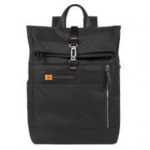 "Piquadro PQ-BIO Nylon Roll Top PC Backpack 15.6"" Black"