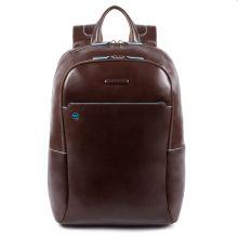 "Piquadro Blue Square Big Size Computer 15.6"" Backpack With iPad Pro 9.7"" / iPad 11"" Mahogany"