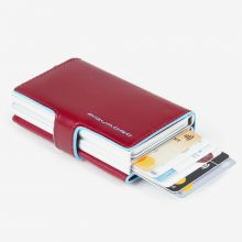 Piquadro Blue Square Double Credit Card Case With Sliding System Red