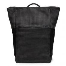 Salzen Sleek Line Leather Plain Backpack Aligned Smoke