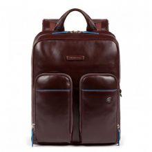 "Piquadro Blue Square Fast Check Laptop Backpack 15.6"" iPad Pro 9.7"" / iPad 11"" Mahogany"