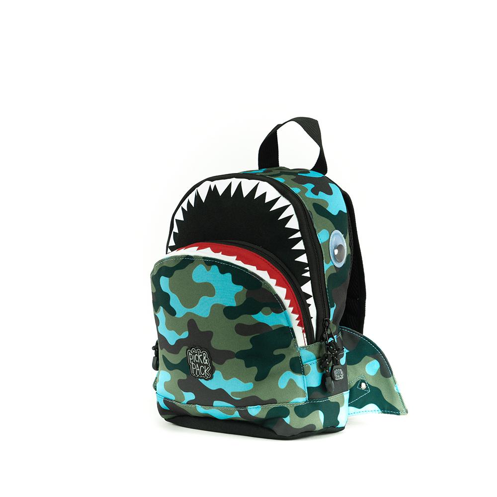 Pick & Pack Fun Rugzak S Shark Shape Camo Light Blue