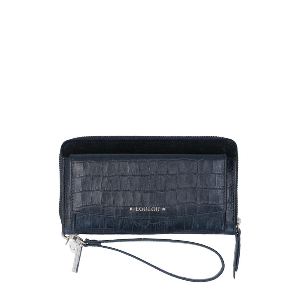 LouLou Essentiels Classy Croc Wallet black Dames portemonnee