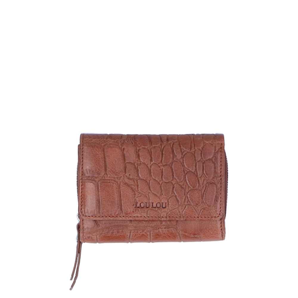 LouLou Essentiels Vintage Croco Silver Wallet Small Cognac