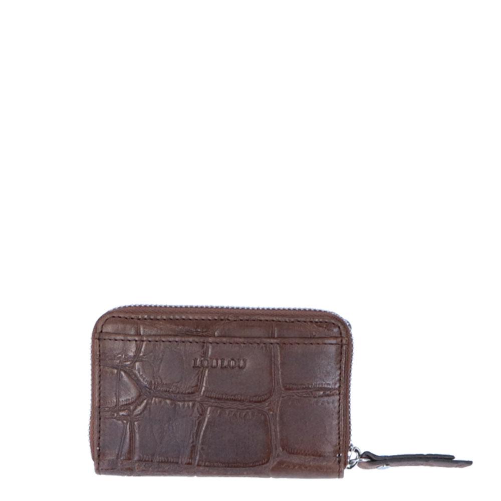 LouLou Essentiels SLB Vintage Croco XS RFID Wallet Cacao