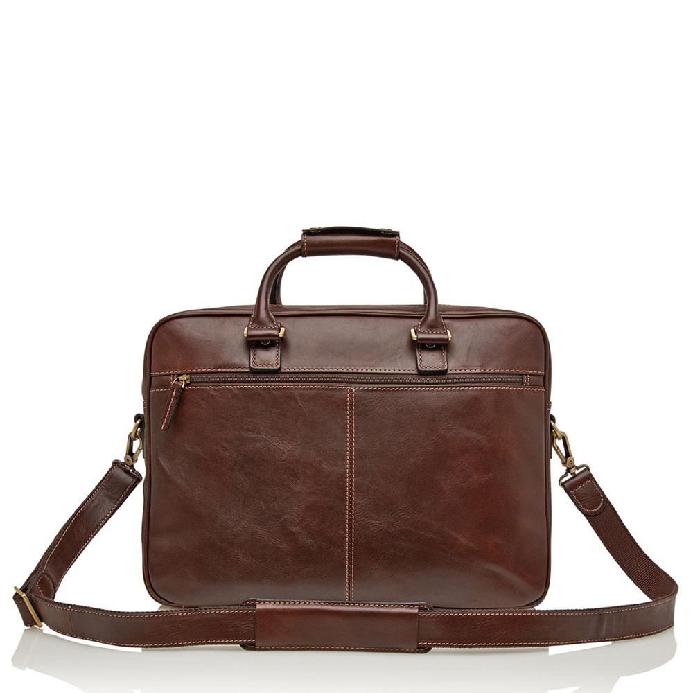 Verona Laptoptas 15.6″ fijn gegreineerd rundleer bruin